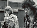 Rolling Stones founding member Brian Jones accompanies Jimi Hendrix backstage at 1967's Monterey Pop Festival. Jones would introduce Hendrix to the crowds of thousands, who at that time was relatively unknown in the states. After The Experience's blistering performance, Hendrix's name was on the tip of the nation's tongue. Photo by Jim Marshall